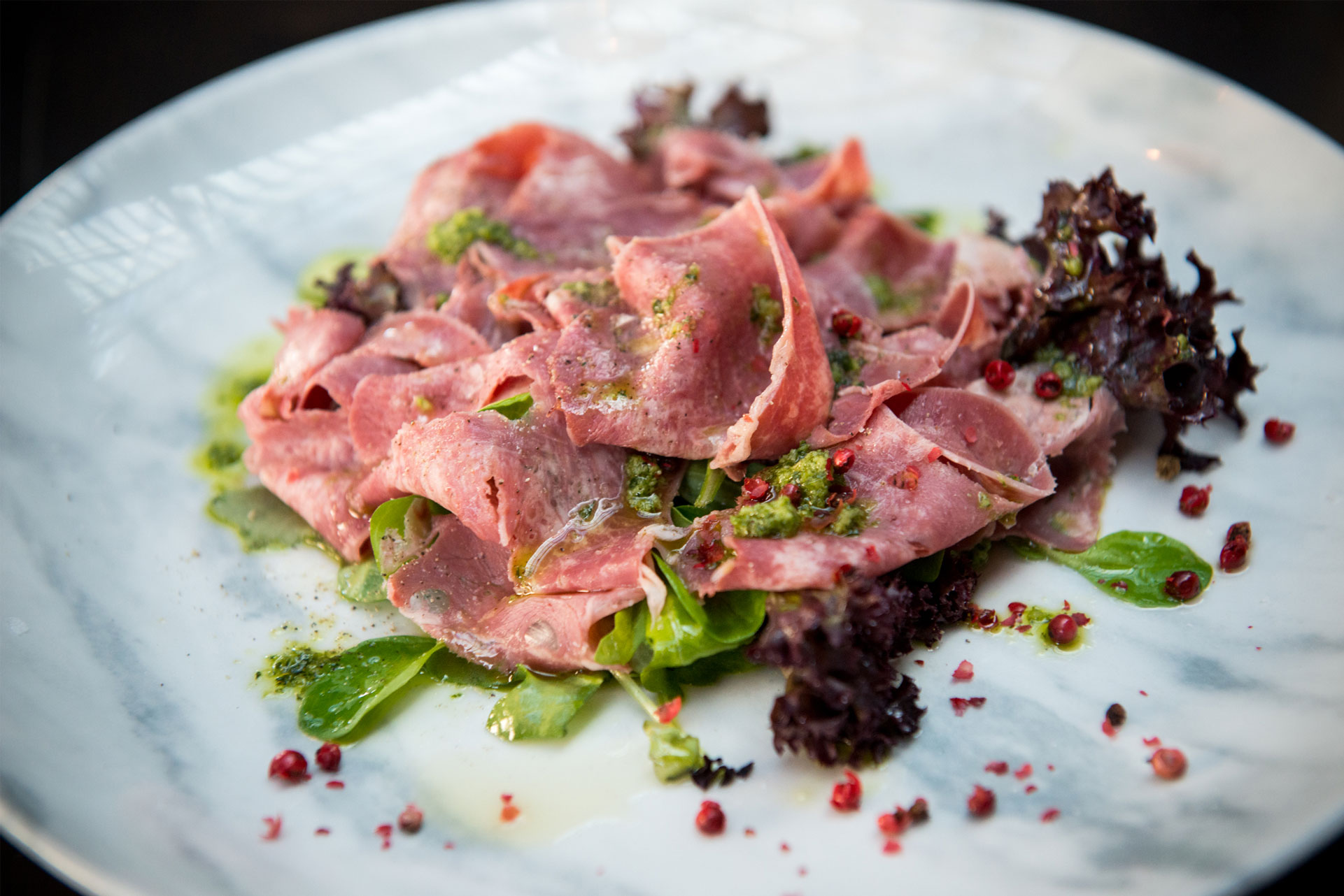 Close up of pickled beef tongue salad